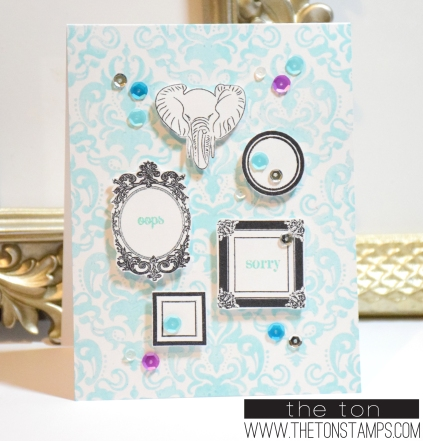 blue damask frames