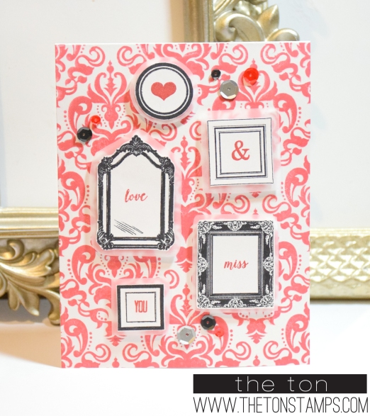 red damask frames