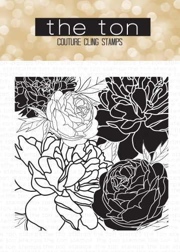 Peony Garden, 6x6, Red Rubber Cling Stamp