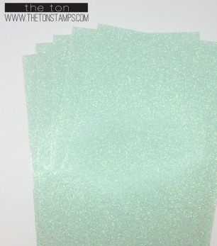 translucent mint glossy glitter half sheet